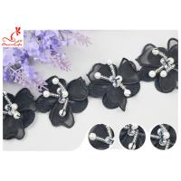 China Black 3D Flower Embroidered Lace Trim With Beaded Azo Free Dyeing Pass OEKO TEX wholesale
