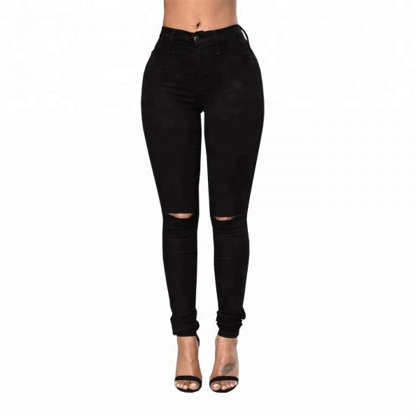 Quality Full Length Ladies Jeans Pant Black Ripped Skinny Jeans Womens Custom Design for sale