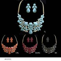 China High Quality American Stander Colorful Acrylic Silver PLATED Bridal & Party Jewelry Sets wholesale