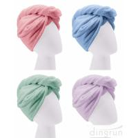 China Custom Wholesale Fast Dry Absorbent Wrapped Twist Microfiber Hair Turban Towel with Buttons wholesale