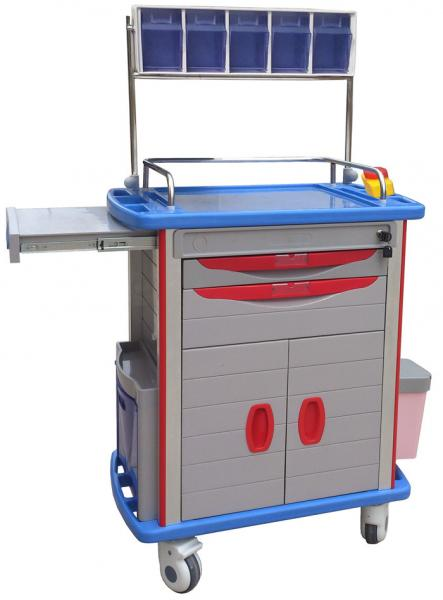 Quality Emergency Medical Trolleys With Drawers , Four Aluminum Columns For Anesthesia for sale