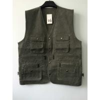 China vest, waistcoat, mens vest, 100% polyester, washed fabric, fishing vest, olive, S-3XL wholesale