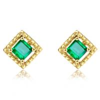 China Square Genuine Emerald Stud Earrings 18k Yellow Gold for Ladies Gifts wholesale
