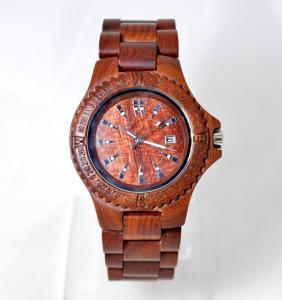 China Красные бамбуковые деревянные наручные часы для женщин с пряжкой ремня, движением кварца Японии wholesale