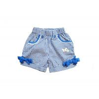 China Elastic Waist Bowknot Blue Strech Toddler Cotton Shorts Pants For Girl Summer 4-12 year on sale