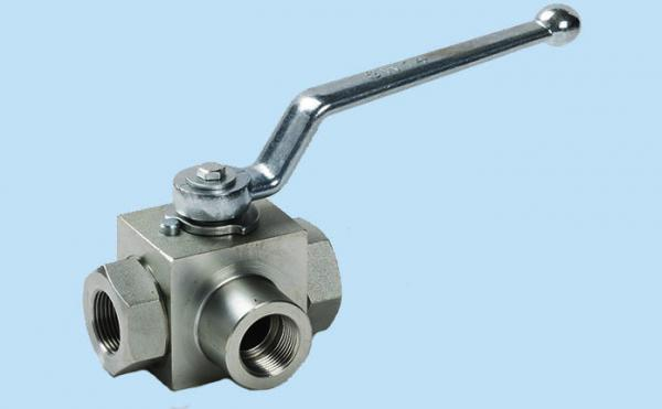 Quality KHB3K 3 Way Ball Hydraulic Valves Carbon Steel Max Pressure 500 Bar ISO9000 Approved for sale