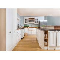 China Contemporary L Shaped Kitchen Cabinets With Glass Door And Red Paint Island wholesale