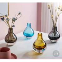 China Brown Colored Glass Flower Vases / Bulb Type Glass Flower Vase Decoration wholesale