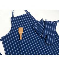 China 100% Cotton Commercial Stripe Chef Apron with Pocket , Adjustable Neck Strap & Waist wholesale