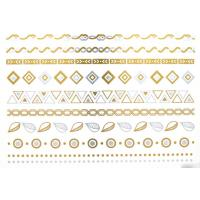 China high quality metallic tattoo. Silver foil tattoo, Jewelry temporary tattoo, on sale