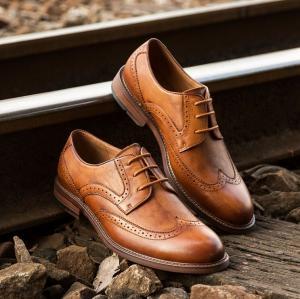 China Retro Vintage Mens Leather Dress Shoes Brown Oxfords Zip Lace Up Brogue Shoes wholesale