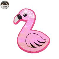 China Fashion Large Reverse Sequin Patch Pink Bird Double Sided 3D Customized Color wholesale