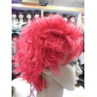 China Body Wave Short Synthetic Human Hair Full Lace Wigs With Bang , Pink Colored on sale