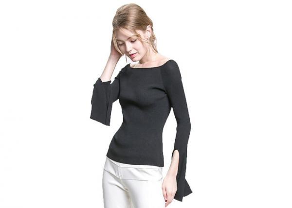 Quality Strapless Collar Womens Knit Sweater Pullover Drop Shoulder Type S M L Size for sale