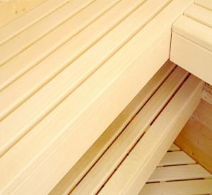 China Grade A Abachi Sauna Wood , Natural Color Anti Insect Sauna Bench Wood wholesale