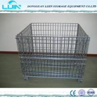 China Grey Foldable Wire Mesh Cages For Workshop Pallet Metal Crate Front Drop Gate wholesale