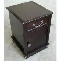 China HPL Top Dark Wood Nightstand With Drawers , Narrow Bedside Table Night Stand wholesale