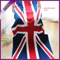 China high quality promotional reactive printed flag cotton beach towel wholesale