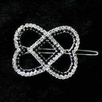 China Silver rhinestones hair clip, full with rhinestones, silver plating, lead- and nickel-free on sale