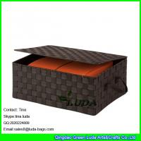 China LDKZ-022 popular brown strap woven basket double woven storage box with hinged lid wholesale