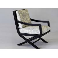 China OAK Wood Dining Room Furniture Modern Arm Chairs With Cream Fabric Upholstery wholesale