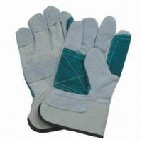 China Grain cowhide leather safety work gloves, fire-resistant, with reflective color back on sale