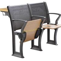 China Flame Retardant College Lecture Hall Chairs Study Seating With Armrest / Iron Leg on sale