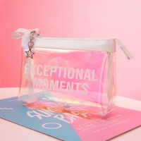 Buy cheap Leak Proof Lady Laser Clear PVC Cosmetic Bag Custom Logo from wholesalers