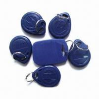 China Plastic RFID Key Fobs, 0.8 to 1.2mm Thickness wholesale