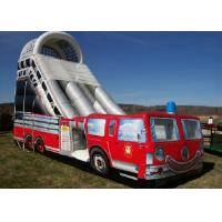 China Firetruck Printed Inflatable Bouncy Slide 9mx4m High Stress Reinforced Points wholesale
