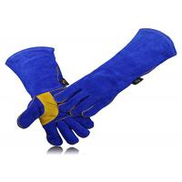 China Blue Welding Work Gloves Wrist Stitching Reinforce For Hand Protection on sale