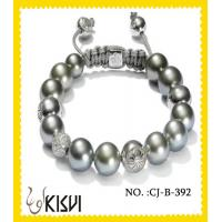 China Competitive price 10mm CZ crystal & alloy crystal beaded bracelet for Men, Unisex wholesale