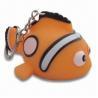 China LED Flashing Fish Keychian/Vinyl Flashing Clown Fish Keyring, Made of Safe PVC Material wholesale