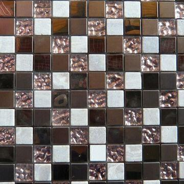 Quality Crystal Glass/Stainless Steel Mix Natural Stone Mosaic Tiles, Comes in Rose Gold for sale