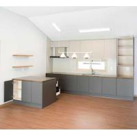 China Modern Kitchen Cabinet Customized High Cabinet Kitchen Island Cabinet with Gray MFC Door Plate Quartz Stone Counter wholesale