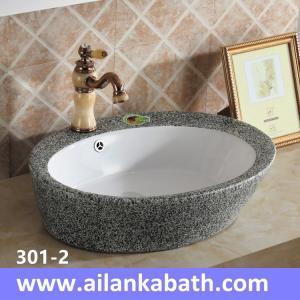 China 2016 new model fashion sanitary ware double glazed grey and white color art basin wholesale
