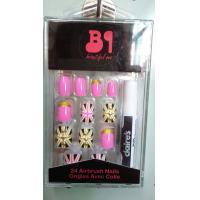 Beatiful Pink artificial nail art gold glitter for Adult , Full sticker