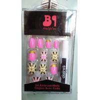 Beatiful Pink artificial nail art gold glitter for Adult , Full sticker