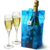China Clear PVC Ice Bag Carrier For White Wine Cold Beer Chilled Beverages wholesale
