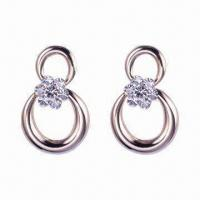 China Fashion Gold Plated Zinc-alloy Earrings, Cute Design, Available in Various Colors wholesale