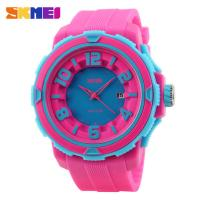 China Outdoor Sport Colorful Plastic Quartz Watch 3 ATM Rose Red For Girl wholesale
