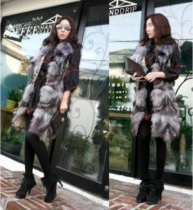 Buy cheap Women's Silver Fox Fur Vest Fox Fur Coats Jacket Japanese & Korean style Z36 from wholesalers
