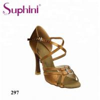 China Suphini Classical X Strap Double Buckle Satin Latin Salsa Ballroom Dance Shoes For Women wholesale