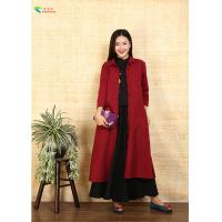 China Burgundy Single - Breasted Double Layer Coat With Split For Autumn Clothing wholesale