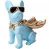 China Modern Blue Bulldog Polyresin Animal Figurines Candy Snack Holder Plate wholesale
