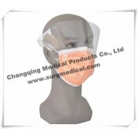 China Disposable Non - woven Pleated Medical Face Mask With Splash Shield / Visor on sale