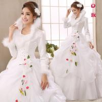 China Autumn and winter 2015 wedding long-sleeved thick white newest princess cotton dress wholesale