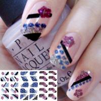 China Colorful nail designs Fashion 3D Glitter Full Nail Sticker, Art Decals by EN-71, CA Pro 65 wholesale