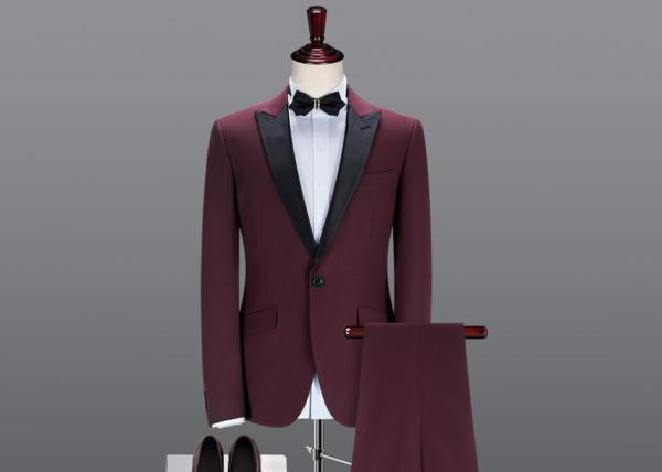 Quality Red Male Prom Suits Slim Fit Peaked Lapel 2 Pieces Single Breasted Button for sale