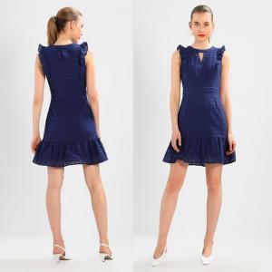 China 100% Cotton Women Blue Sleeveless Mini Dress on sale